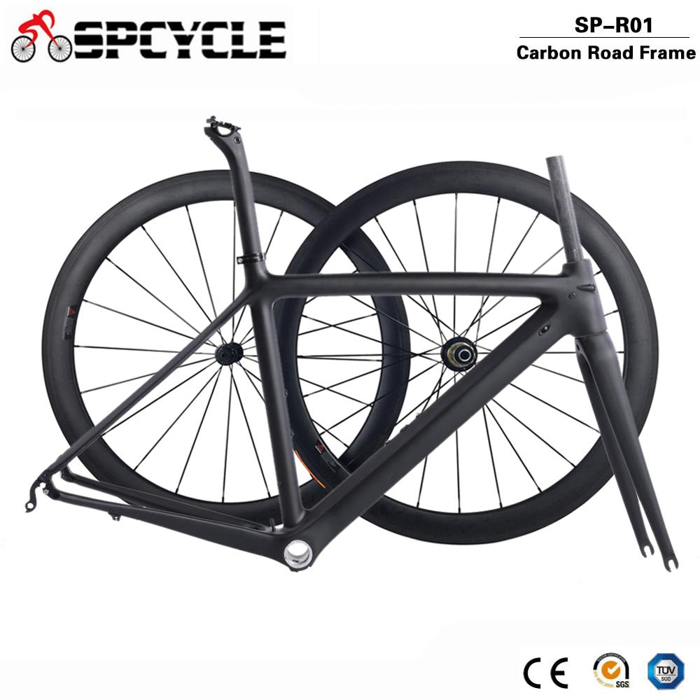 Spcycle 2020 New Ultralight Carbon Road Bike Frame Wheelset T1000 Carbon Road Bicycle Frameset With Seatpost Headset 50/53/55cm
