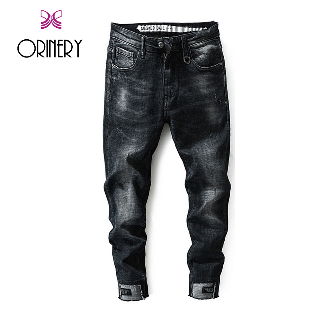 ORINERY 2018 New Designer Ripped Jeans for Men High Quality Denim Full Length Mens Trousers Fashion Skinny Jeans Brand Clothing