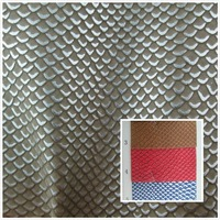 NEW Fish Scales Glitter Style Toughness Faux Leather Fabric Semi PU Synthetic Leather 9 Color Textile