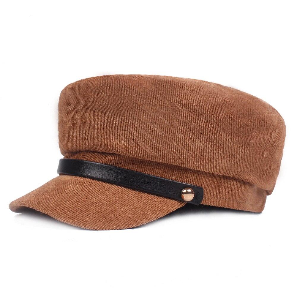 2018 Herbst Winter Neue Heiße Mode Frauen Casual Einfache Vintage Warme Berets Weibliche Cord Einfarbig Military Caps Um Eine Reibungslose üBertragung Zu GewäHrleisten