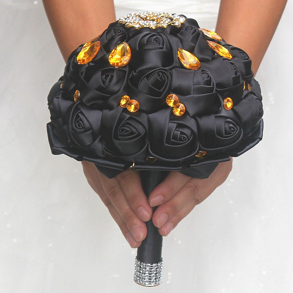Pop Gold Crystal Brooch Bouquet Wedding Bouquet De Mariage Polyester