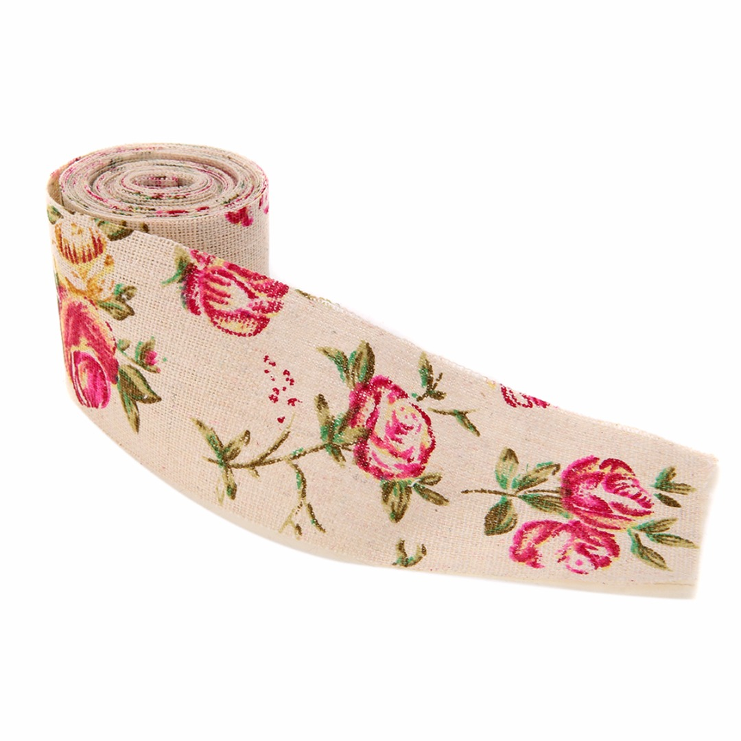 300CM Vintage Rose Floral Print Burlap Stylish Hessian Ribbon Fabric DIY Wedding Craft Decors Handmade Materials 4
