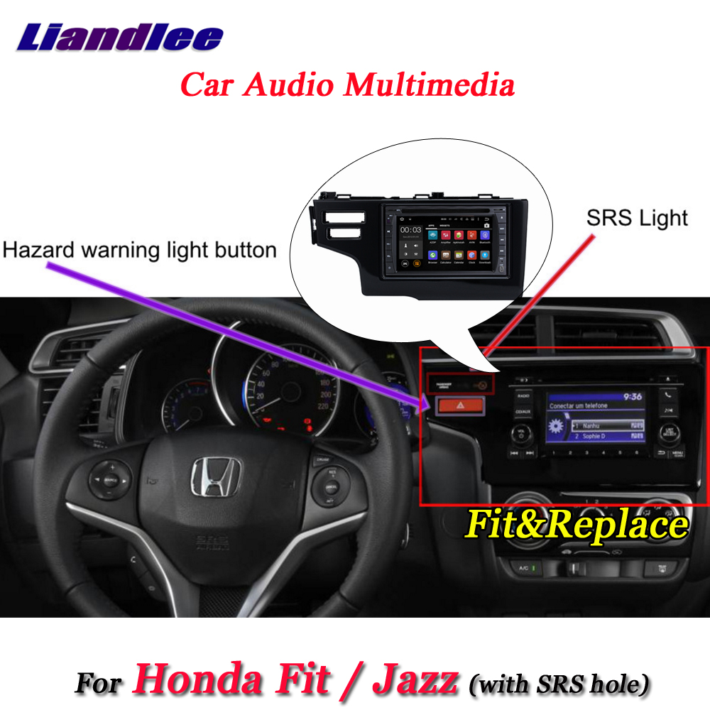 Liandlee Car Android System For Honda Fit Jazz 2013 2018 Radio Frame With SRS Hole GPS