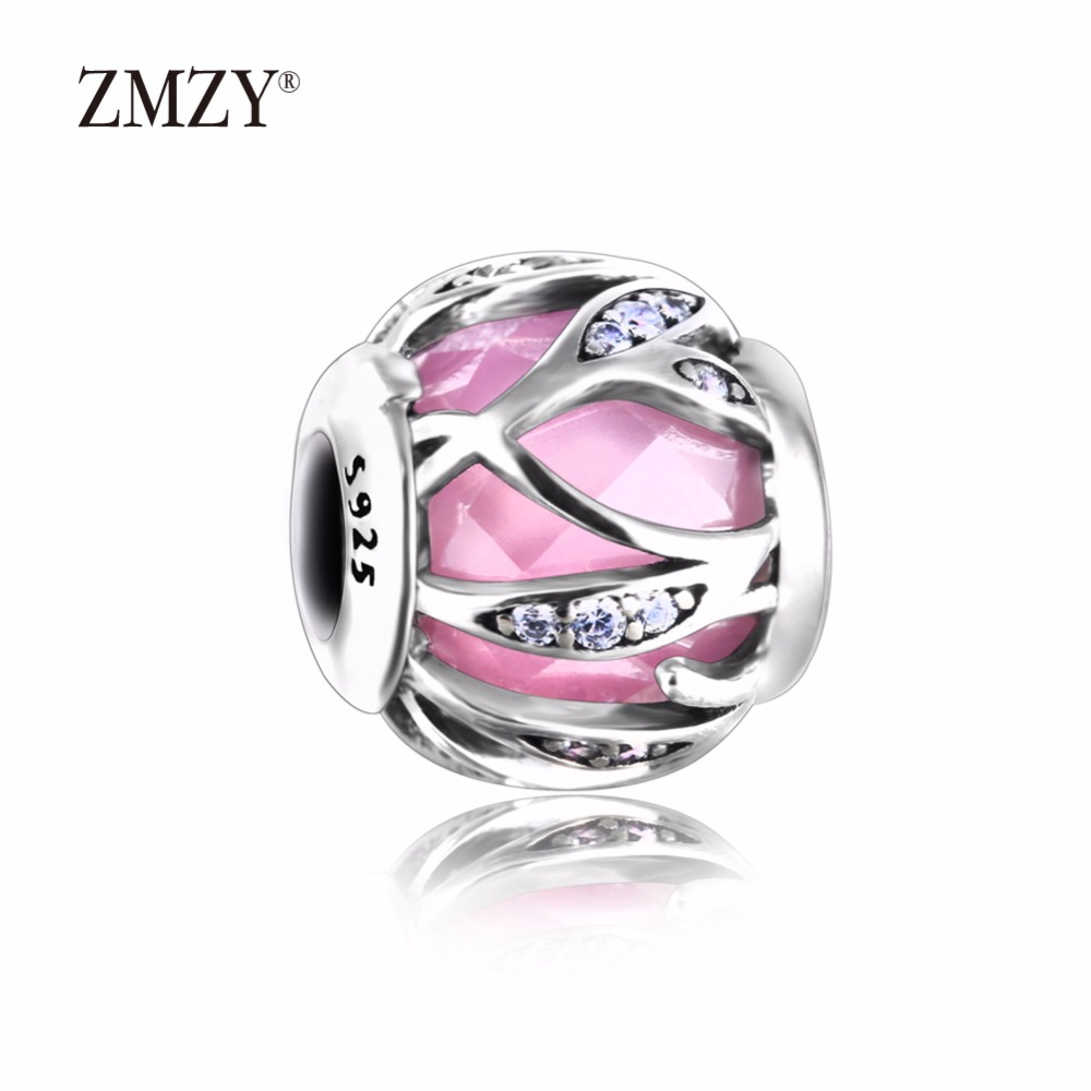 ZMZY Authentic 925 Sterling Silver Charms Abstract Charm with Pink Faceted Cubic Zirconia Beads Fits Pandora Charm Bracelet