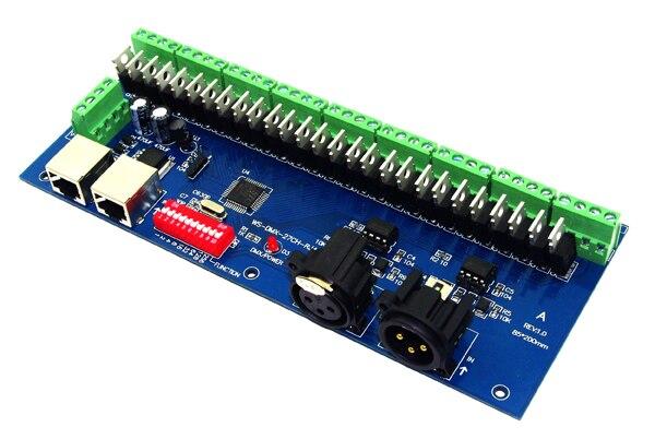 27 canaux 9 groupe DMX512 XLR + RJ45 connecteur LED contrôleur de pilote/décodeur pour bande de LED