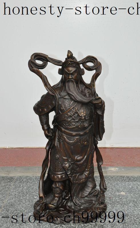 Crafts statue china folk bronze Soldier Warrior Generals dragon guanyu guangong god statue