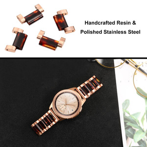 Image 5 - Stainless Steel & Resin Watchband for Samsung Galaxy Watch 42mm Active Active2 44mm 40mm Quick Release Band Women Strap RoseGold