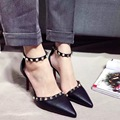 2017 New Black Pink Grey Thin High Heel Pumps 9cm Sexy Rivets Pointed Toe Ankle Strap High Heel Red Bottom Shoes for Women