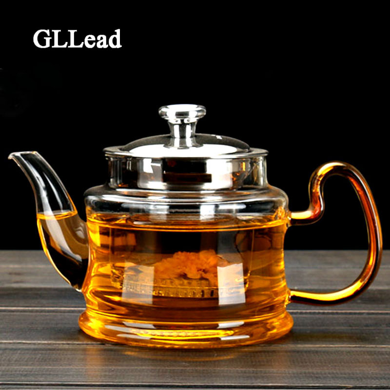 Good Clear Borosilicate Glass Teapot With 304 Stainless Steel Lid Glasses Infuser Strainer Heat Resistant Black tea pots