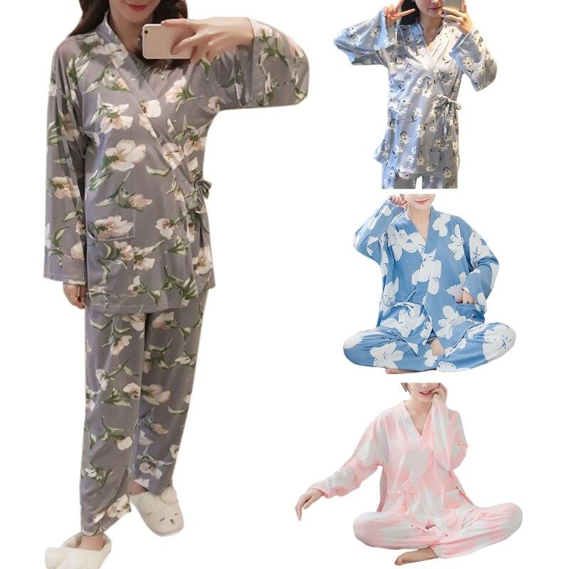 Schlaf-oberteile Klv 2018 Frauen Milch Faser Pyjamas Set Schöne Cartoon Gedruckt Frühling Sommer Mädchen Lose Nachtwäsche Geschenk Hause Kleidung