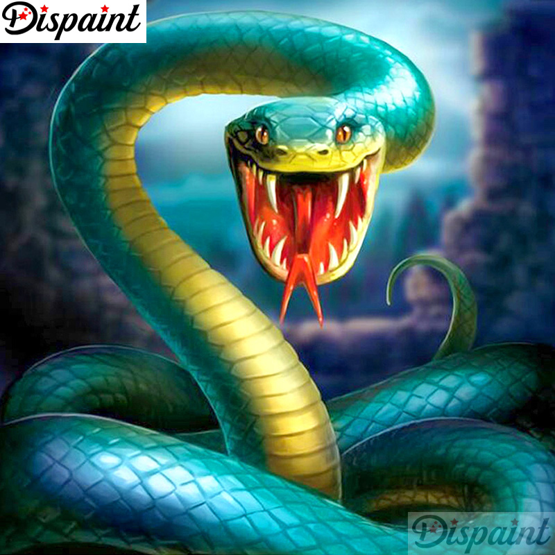 Dispaint Full Square Round Drill 5D DIY Diamond Painting Animal snake scenery 3D Embroidery Cross Stitch