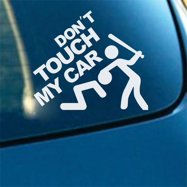 Dont touch my car quote stickers kawaii man bit adesivo de parede home decoration car stickers vinyl wallpaper wall sticker in wall stickers from home