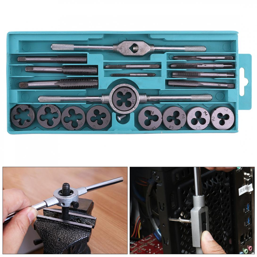 20pcs Alloy Steel Tap & Die Set with Small Tap Twisted Hand and 1/16-1/2 Inch NC Thread Plugs Taps Hand Screw Taps 20pcs m3 m12 screw thread metric plugs taps tap wrench die wrench set