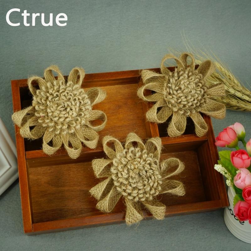 10tk Looduslik džuudist kostüüm Hessian lill käsitsi valmistatud - Pühad ja peod