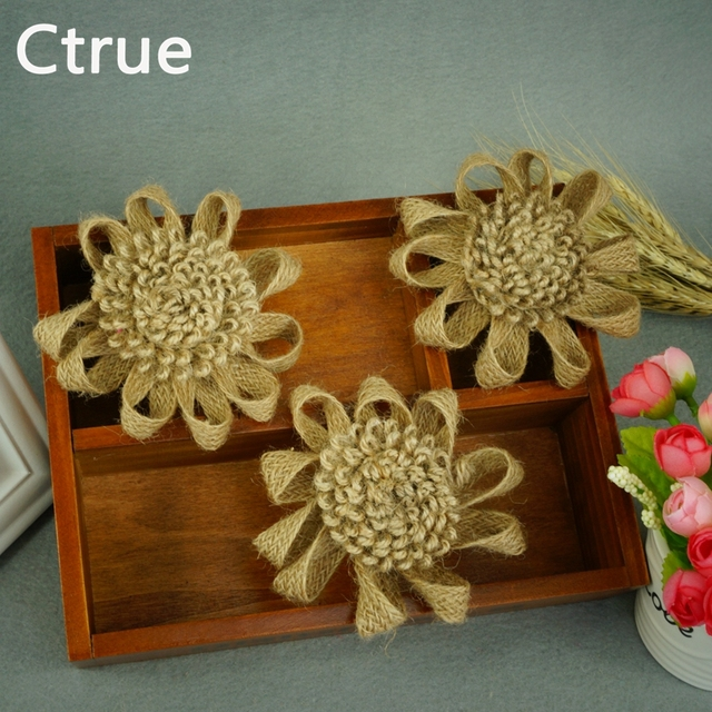 10pcs Natural Jute Burlap Hessian Flower Handmade Vintage Wedding ...