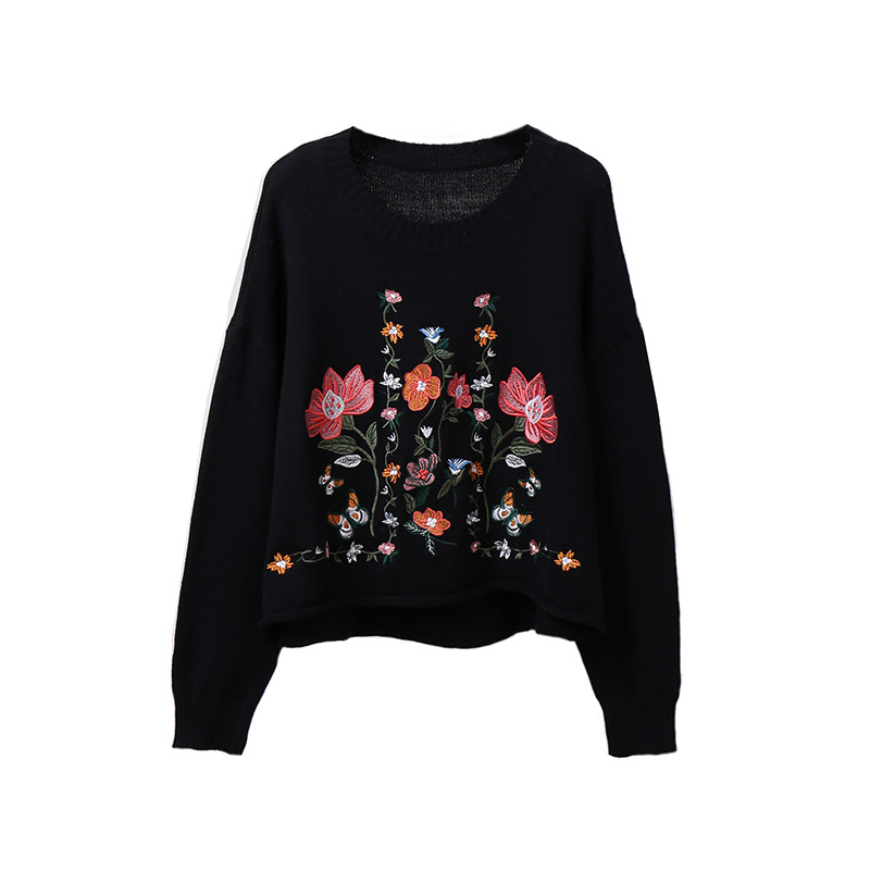 Sleeved Beautiful Embroidery 2017 Pavilion Chart New Black Sweater See Flower Fall Embroidered Female Knitted Long vw5vYqr