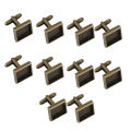 10Pcs 15mm Square Blank Settings Base Pad Cuff Links DIY Antique Bronze