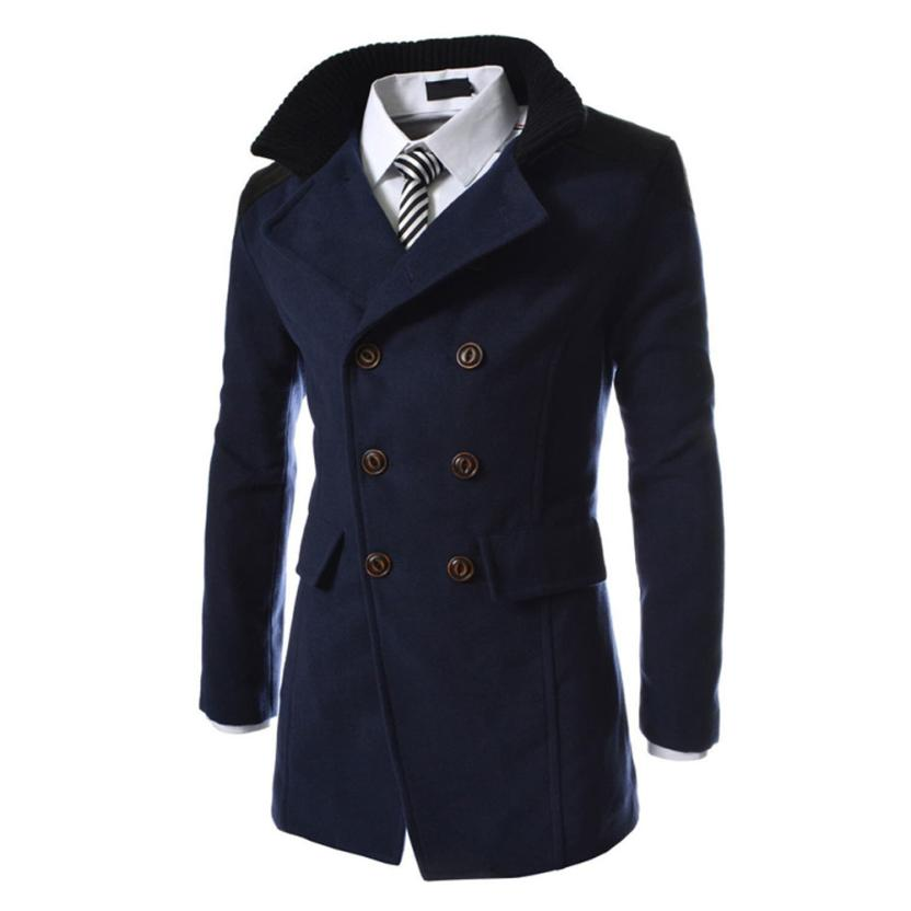 MUQGEW Men Jacket Overcoat Double-Breasted Winter Casual Trench Smart Fashion Button