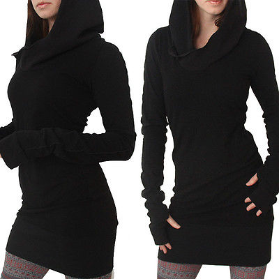 New Women Long Sleeve Casual Bodycon Hoddie Fullover Jumper Dress