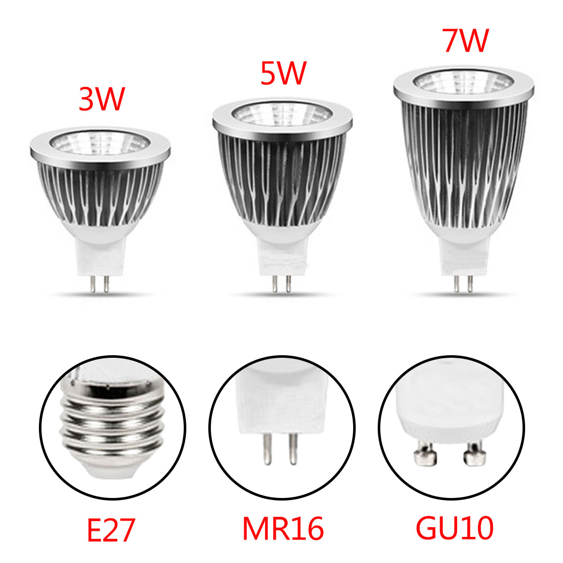 Warm White 3W 5W 7W Bulb Replace Energy Saving Lamp GU10 E27 220V 110V 12V Spot Light LE ...