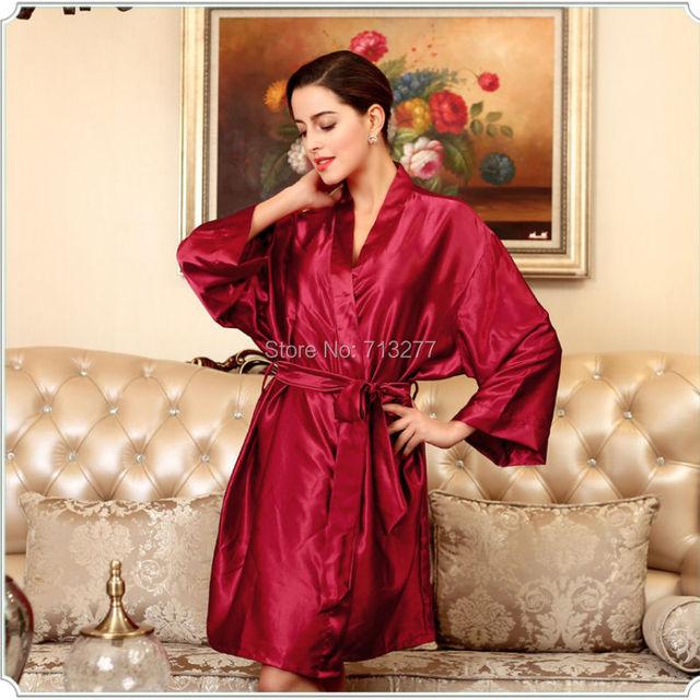 SSH030 Quente Sólida Roupão Roupão de banho das Mulheres de Seda de Cetim Plus Size Robe Longue Femme Sexy Sleepwear Nightwear Noite Crescer Para Dama De Honra