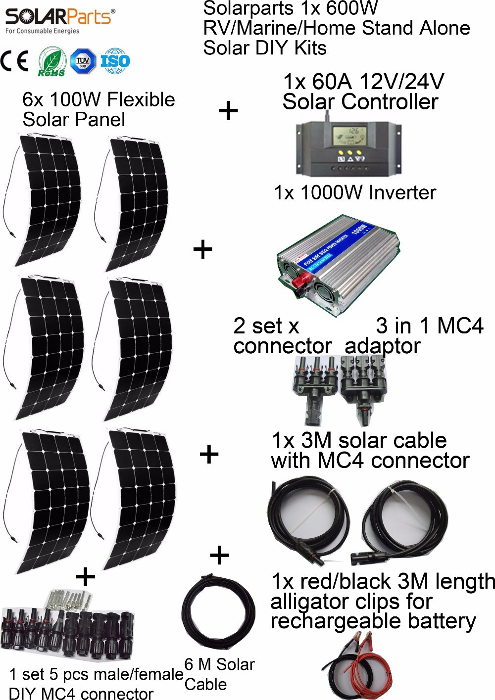 Solarparts 6x100W Solar System KITS flexible solar panel
