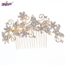 Vintage Flower Hair Combs Imitation Pearls Hairpins for Women Bridal Wedding Head Jewelry Accessories Rhinestone Crystals FA3238