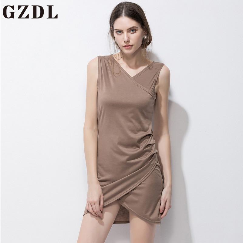 GZDL Official Store GZDL Summer Fashion V Neck Khaki Split Sundress Women Sheath Wrap Mini Dress Casual Sleeveless Dresses Vestido De Festa CL3661