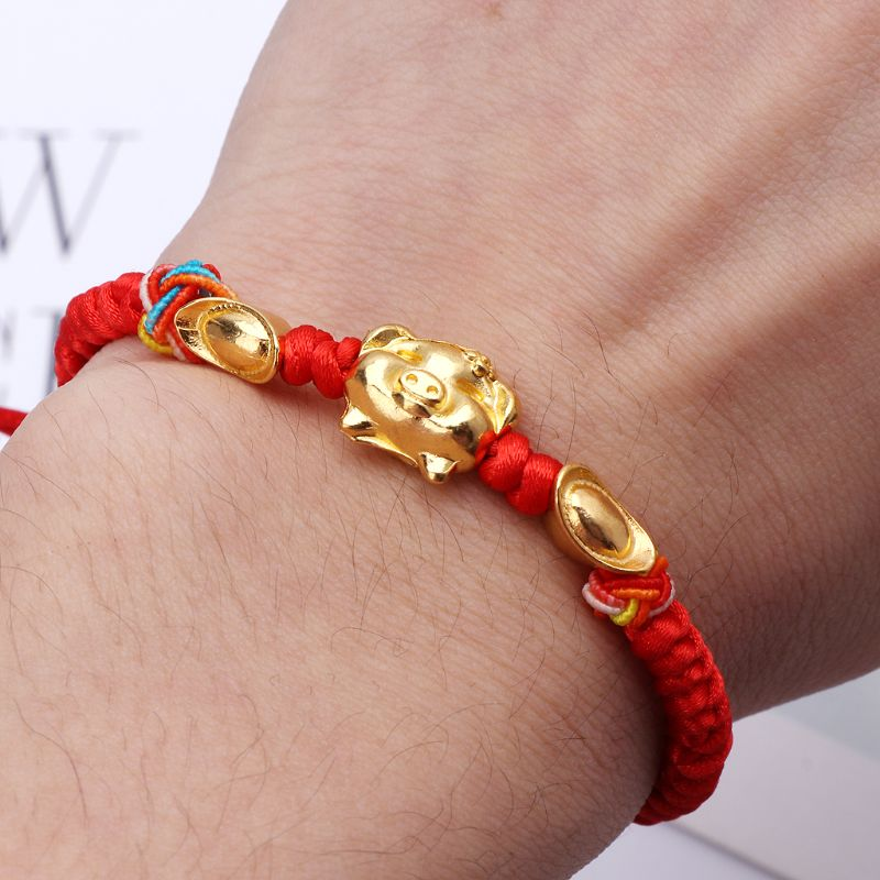 JAVRICK Lucky Kabbalah Red String Braided Golden Pig Charm Bracelets Fashion Jewelry in Charm Bracelets from Jewelry Accessories