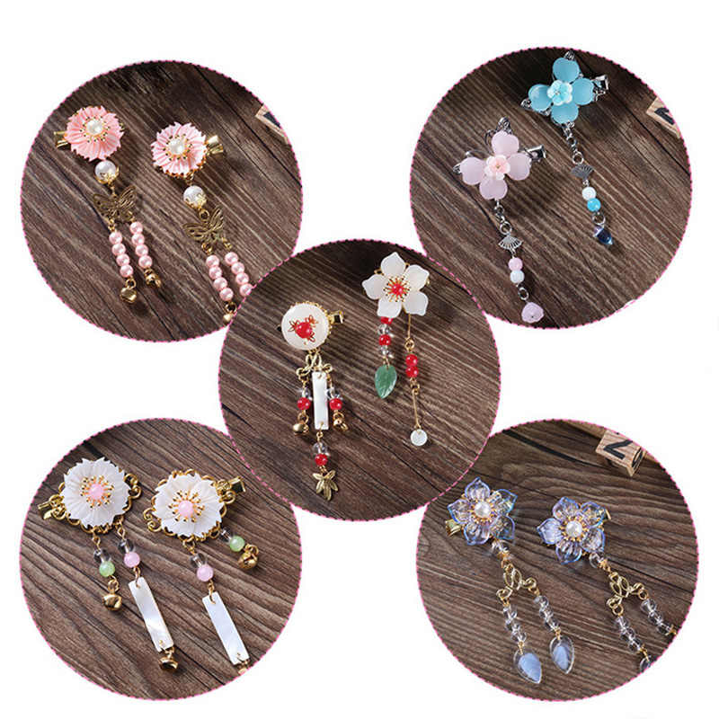 1 pc Vintage Cherry Blossom Tassel Antique Hair Clips Side Clip Hairpin Hanfu Chinese Traditional Headdress Handmade Hair clip