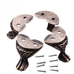 Новый 4 шт. античный сплав ювелирные изделия Подарочная коробка деревянный корпус декоративные ноги угол для мебели #0919