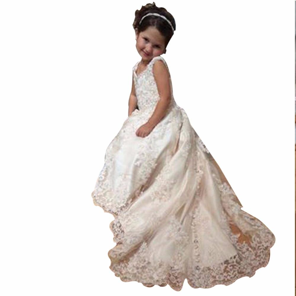 ZYLLGF Bridal A-line V Neck Long Gowns For Kids Lace Vintage   Flower     Girl     Dresses   Pageant   Dresses   For   Girls   Custom Made FP35