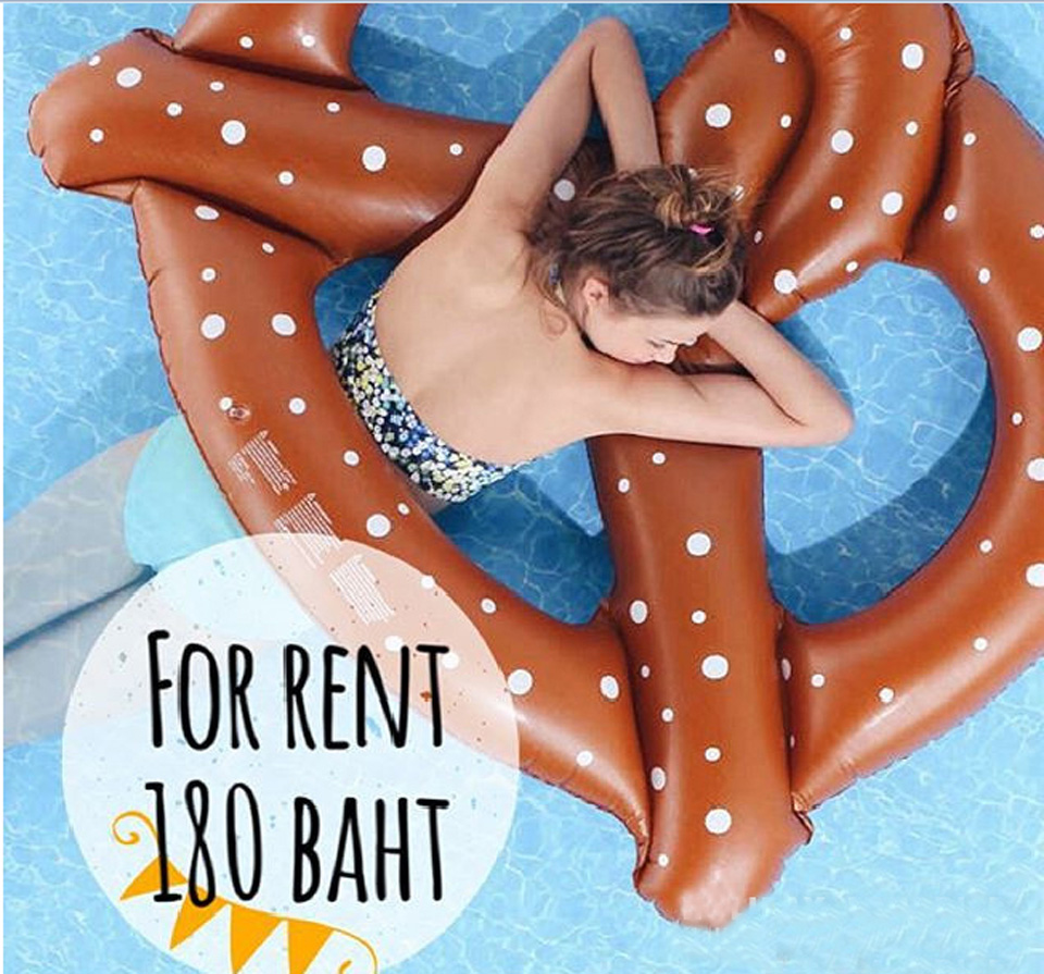 Inflatable Mattress Pretzel Swimming Circle Pool Float Beach Island Boia Piscina Ring Summer Water Fun Party Toy Women Child