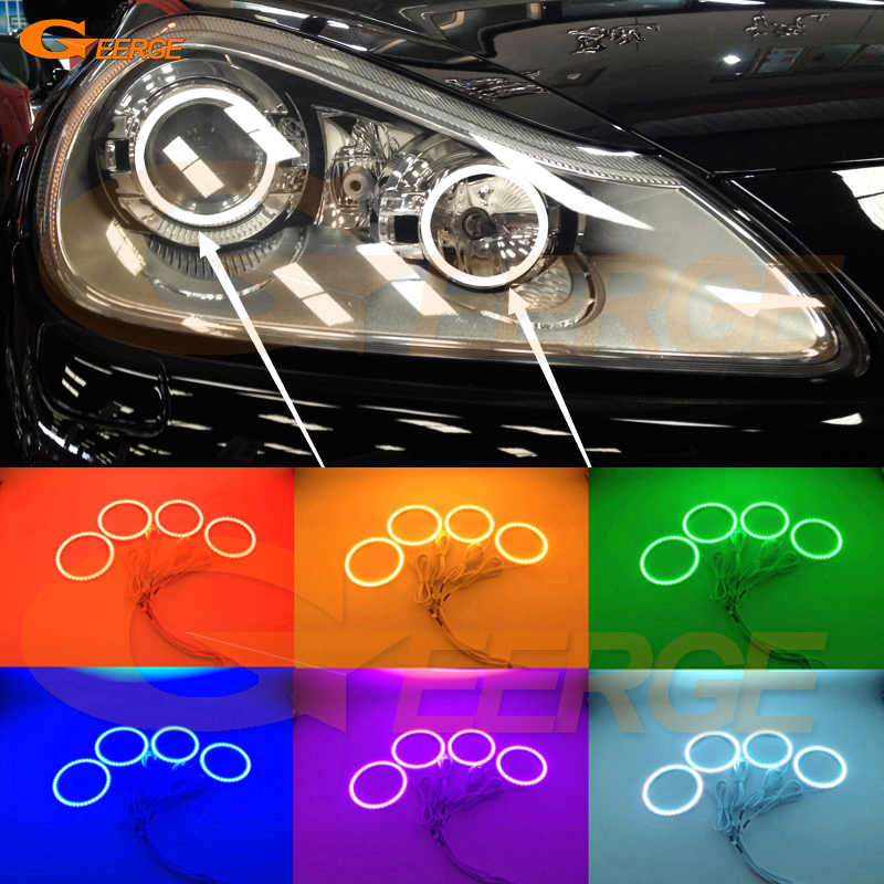 For Porsche Cayenne 957 2007 2008 2009 2010 Excellent Angel Eyes Multi-Color Ultra bright RGB LED Angel Eyes kit Halo Rings