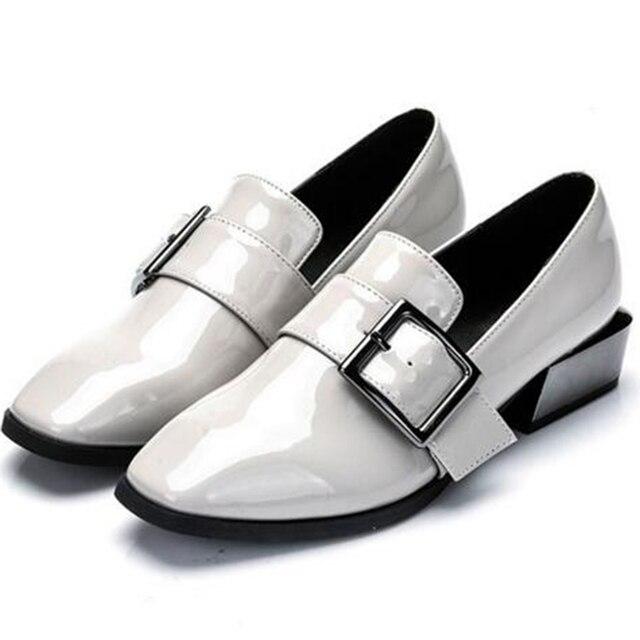 Высокие каблуки женщины Коренастый насосы квадратных ног роскошные женская обувь обувь из натуральной кожи женщины дамы черный Сексуальная chaussure femme 35-42