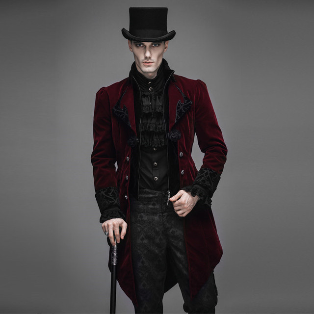 03ce62a318a Autumn Winter Steampunk Goth Long coat men Fashion Runway Style Coat Men  Neutral Slim Retro Style Gothic Velveteen Trench Coat