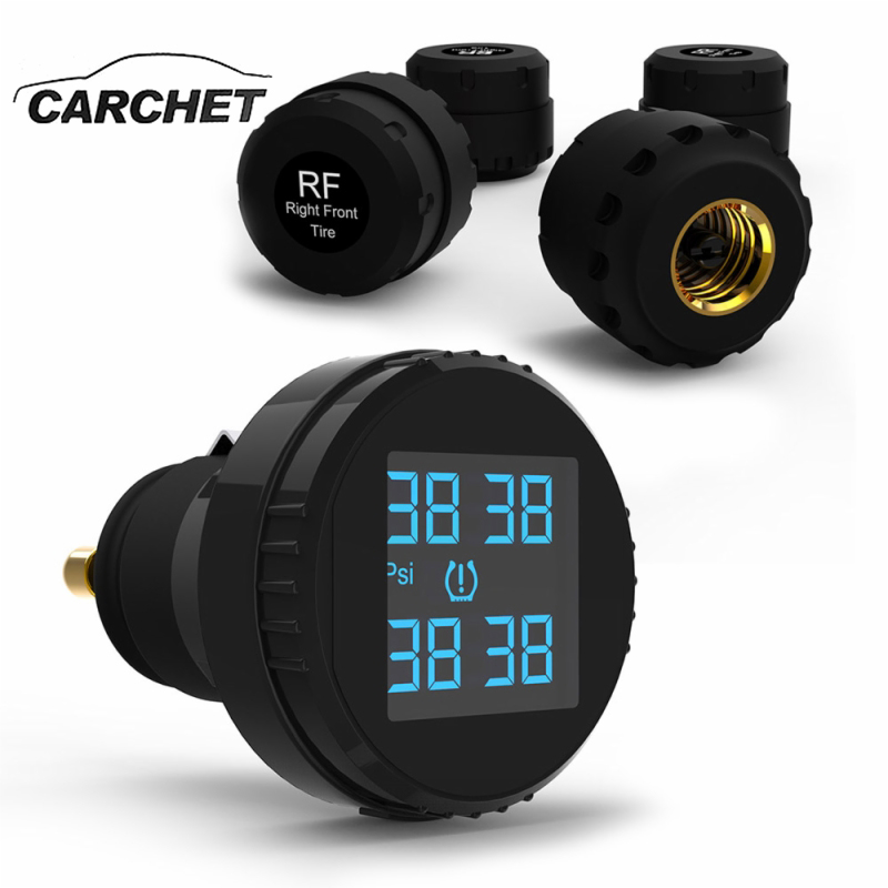 CARCHET Wireless Cigarette Lighter LCD Display TPMS Tyre Pressure Monitoring System+4 External Sensors Tire Pressure Alarm бра oml 77301 01 omnilux 1116020