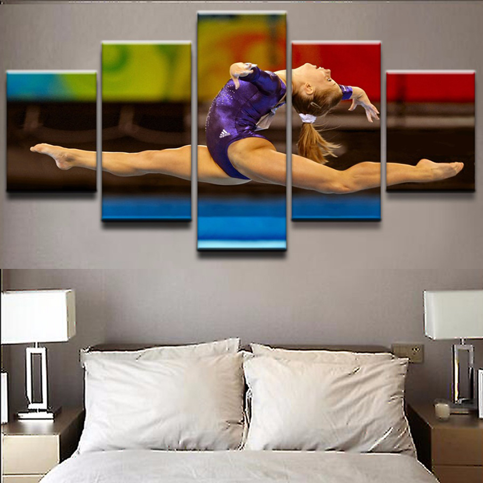 Canvas Poster Frame Painting Modular HD Home Decor 5 Panel Sports Gymnastics Artistic Woman Art Print Living Room Wall Pictures