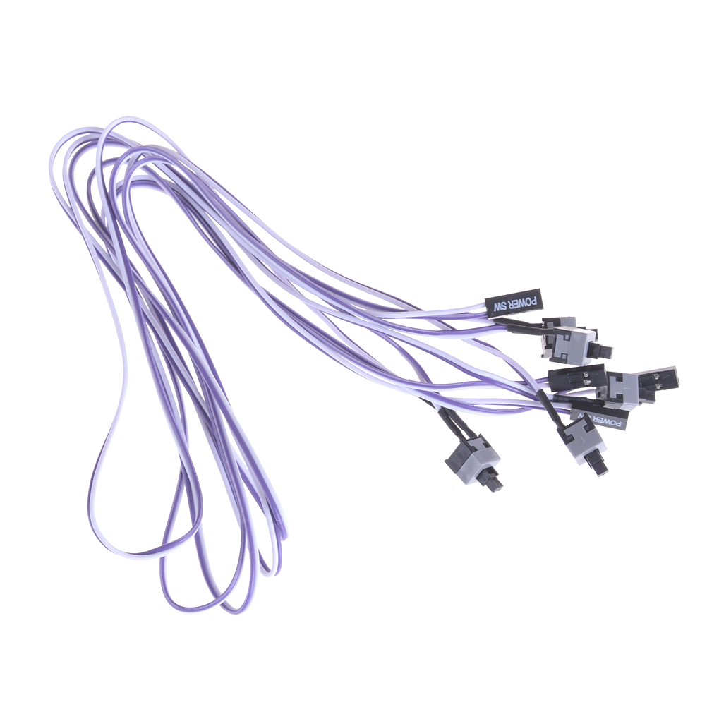 5pcs PC ATX Computer On//Off//Reset Switch Power Cord Restarting Cables