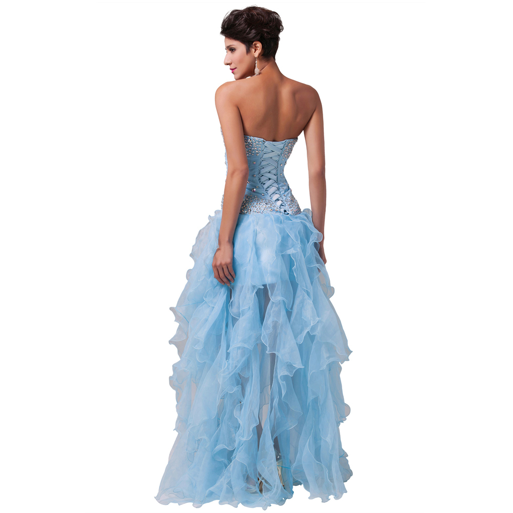 Grace Karin Evening Dress Organza Light Blue Ball Gown Long Party ...