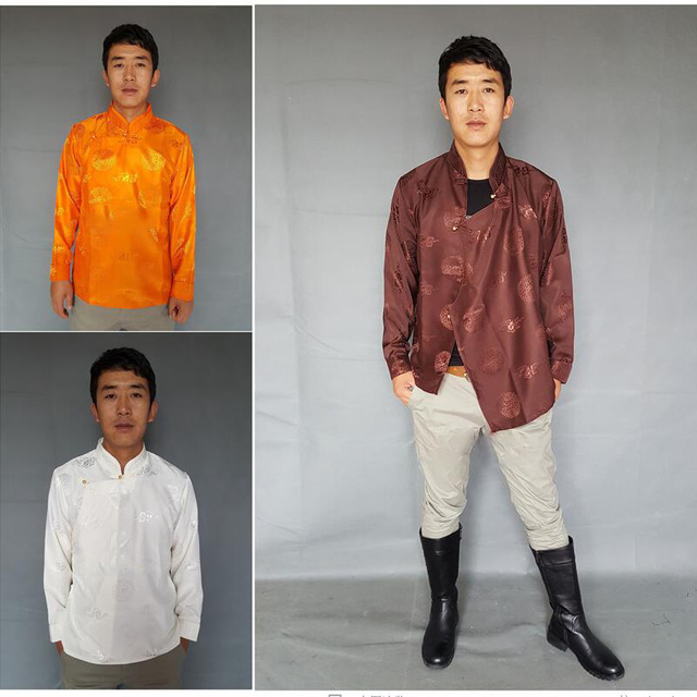 Chinese traditional men clothing casual long sleeves tops ...