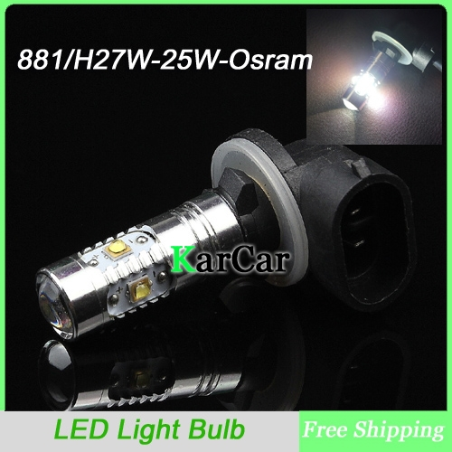25W 881 H27 High Bright LED Fog Lights with Lens Fog Bulbs, H27W Car Daytime Running Light Free Shipping лампа автомобильная avs atlas anti fog h27 881 12v 27w