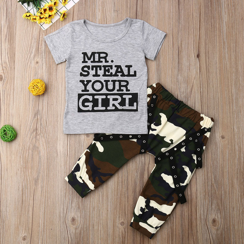 2-7T Little Kids Baby Boys Clothes Set Summer Fashion Short Sleeve Shirt+Camouflage Shorts 2Pcs Outfits