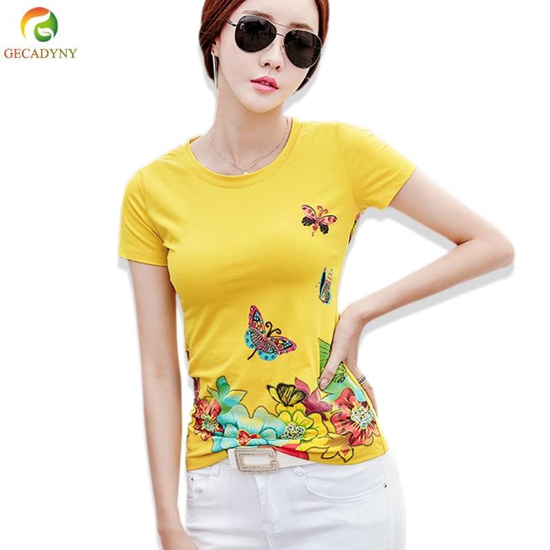 T Shirt Print Floral Diamonds T Shirt Women 2018 Summer Tops Girls Clothes Casual Female Short Sleeve Plus Size T-Shirt Femme