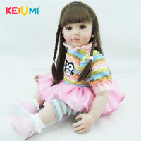 KEIUMI Lovely 24 Inch Stuffed Dolls Realistic Baby Dolls 60 cm Reborn Baby Dolls With Colorful Dress For Kids Toddler Gifts