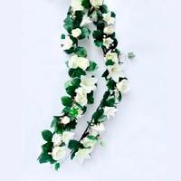 Li Hua Cat Artificial Silk Rose Lily Flower Ivy Vine Leaf Hanging Garland Home Wedding Decoration