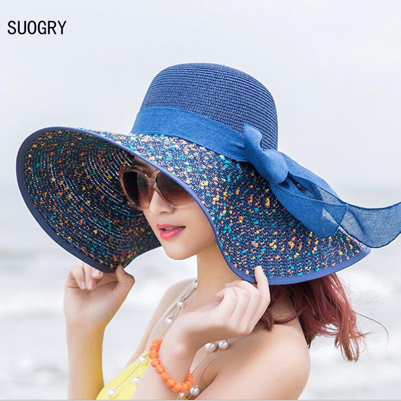 1 stk kvinners strandhatter Caps 2017 Sommermote Foldable Chiffon Floppy Sun Hatter Casual Ladies Sombreros Bowknot Hat Ladies