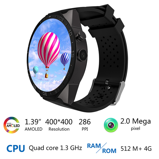 KW88 3G WIFI GPS bluetooth smart watch Android 5.1 MTK6580 CPU 1.39 inch 2.0MP camera smartwatch for iphone huawei phone watch 3