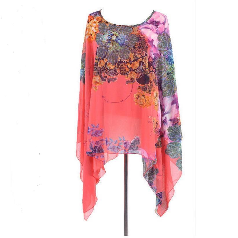 Nové vintage módní květina květinový tisk batwing rukáv letní styl ženy Beach Party šifonové halenky plus velikost Top
