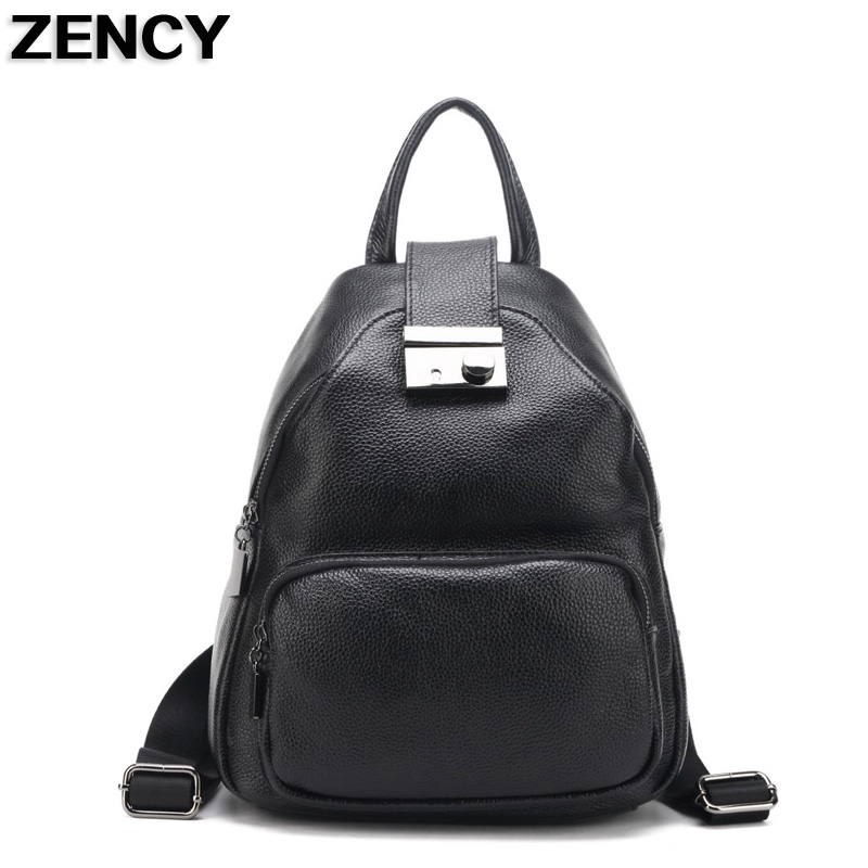 ZENCY 2017 New Genuine Leather Women Backpacks Ladies Girl Backpack Top Layer Cowhide School Bag Mochila zency genuine leather backpacks female girls women backpack top layer cowhide school bag gray black pink purple black color